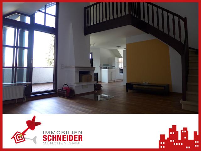 IMMOBILIEN SCHNEIDER – BERG AM LAIM – außergewöhnliche 1,5 Zi. Galerie-Wohnung, offener Kamin, EBK