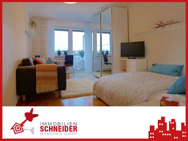 IMMOBILIEN SCHNEIDER – Schwabing – komplett möbliertes, schönes 1 Zimmer-Appartement mit West-Balkon auf Zeit